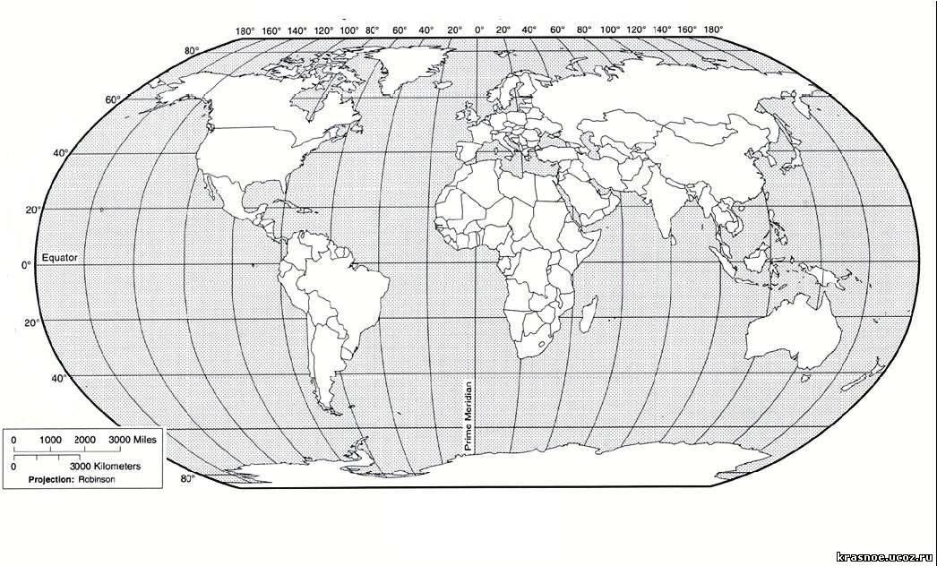 Контурные карты мира.